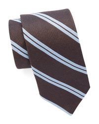 Michael Kors | Brown Striped Silk And Wool Tie for Men | Lyst