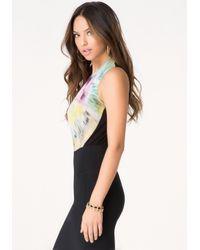 Bebe | Multicolor Print Surplice Bodysuit | Lyst