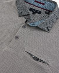 Ted Baker | Gray Zoomba Woven Cotton Polo Shirt for Men | Lyst