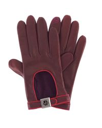 Henri Bendel - Purple Iconic Leather Gloves - Lyst