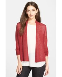 Eileen Fisher | Red Wool Shaped Cardigan | Lyst