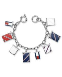Tommy Hilfiger | Metallic Stainless Steel Flag Charm Bracelet | Lyst