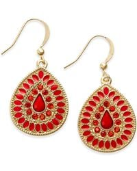 Style & Co. | Gold-tone Red Stone Teardrop Earrings | Lyst
