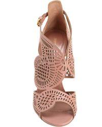 Sergio Rossi | Pink Laser Cut Sandal | Lyst