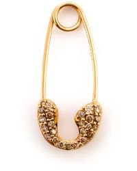 Rosa De La Cruz - Metallic 18Kt Rose Gold And Diamond Safety Pin Earring - Lyst