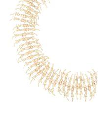 BCBGMAXAZRIA | Metallic Embellished Fringe Necklace | Lyst