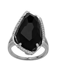 Lord & Taylor | Metallic Sterling Silver Black Onyx Ring With Diamond Accents | Lyst