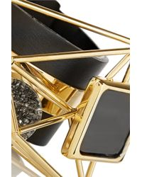 Marni | Metallic Embellished Leather and Gold-Plated Bracelet | Lyst