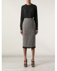 DSquared² - Gray Lace Trim Pencil Skirt - Lyst