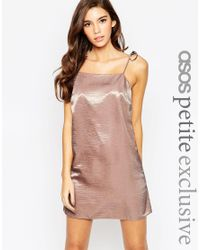 ASOS | Pink Exclusive Satin Mini Cami Dress With 90s High Neck & Tie Straps | Lyst