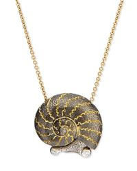 Alex Soldier | Black Snail Pendant Necklace With Diamonds | Lyst