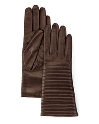 Portolano - Brown Quilted Leather Gloves - Lyst