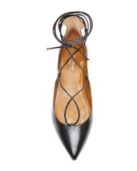 Aquazzura - Black Christy Leather Pointed-toe Flats - Lyst
