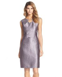 Ellen Tracy - Purple 'Kenya' Beaded Metallic Jacquard Sheath Dress - Lyst