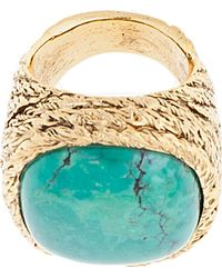 Aurelie Bidermann | Metallic Turquoise Braided Rope Miki Dora Statement Ring | Lyst