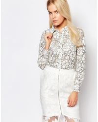 StyleStalker | White Style Stalker L.o.v.e Lace Shirt | Lyst