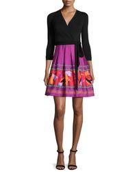 Diane von Furstenberg - Black 3/4-sleeve Combo Wrap Dress - Lyst