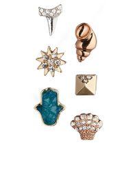 Rachel Roy - Metallic Sea Charm Multipack Stud Earrings - Lyst