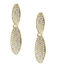 Lauren by Ralph Lauren | Metallic Pave Double Drop Clip-on Earrings | Lyst