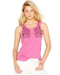 Sanctuary | Pink Artist Embroidered Henley Tank Top | Lyst