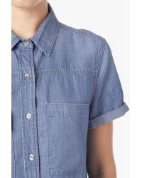 7 For All Mankind Short Sleeve Multi Pocket Denim Shirt In Skylight Blue