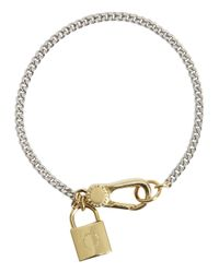 Marc By Marc Jacobs - Metallic Locked Up Silver Tone Bracelet - Lyst