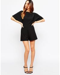 ASOS | Black Tall Kimono Playsuit With Open Back And D-ring | Lyst