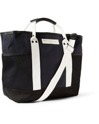 Want Les Essentiels De La Vie - Blue Sangster Leather-Trimmed Striped Organic Cotton-Canvas Tote for Men - Lyst