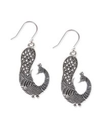 Lucky Brand | Metallic Silvertone Peacock Earrings | Lyst