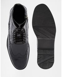 ASOS - Brogue Boots In Black Leather for Men - Lyst