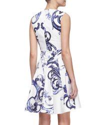 Lela Rose - White Printed Seamed Drop-Waist Dress - Lyst