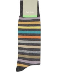 Paul Smith | Gray Twisted Bright Striped Socks for Men | Lyst