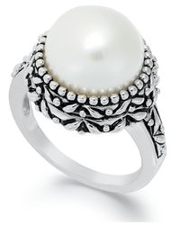 Macy's | Metallic Sterling Silver Ring, Cultured Freshwater Pearl Button Ring (11mm) | Lyst
