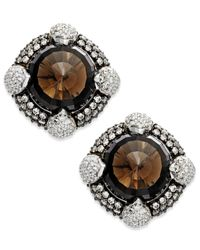 Macy's | Metallic Smoky Quartz (13-1/2 Ct. T.w.) And Swarovski Zirconia Accent Earrings In Sterling Silver | Lyst