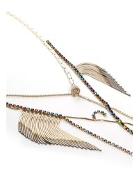 Iosselliani - Metallic Crystal And Fringe Chain Necklace - Lyst