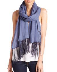 Tilo - Blue Cashmere & Silk-Blend Fringed Scarf - Lyst