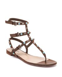 Valentino | Brown Multi-studded Leather Gladiator Thong Sandals | Lyst