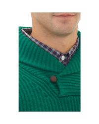 Band of Outsiders - Green Shawl Collar Sweater With Elbow Patches for Men - Lyst
