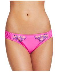 Hobie | Pink Embroidered Flounce Bikini Top | Lyst