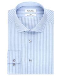 Calvin Klein - Steel Non-iron Slim-fit Light Blue Stripe Performance Dress Shirt for Men - Lyst