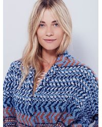 Free People - Blue Womens Iona Pattern Cardi - Lyst