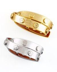 Tory Burch - Metallic Logo-studded Bracelet - Lyst