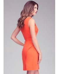 Bebe - Orange Empire Waist Vneck Peplum Dress - Lyst