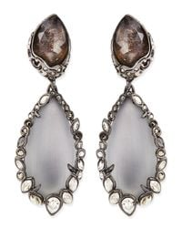 Alexis Bittar - Gray Crystal-Trim Lucite Clip-On Earrings - Lyst
