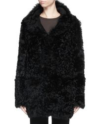 Theory   Black 'abrienda' Reversible Lambskin Shearling Coat   Lyst