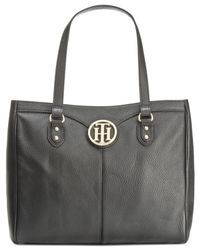Tommy Hilfiger - Blue Maggie Pebble Leather East West Medium Tote - Lyst