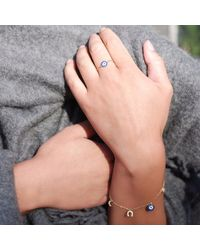 Talia Naomi - Metallic See No Evil Charm Bracelet Gold - Lyst
