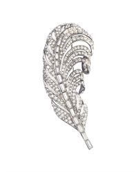 Oscar de la Renta | Metallic Swarovski Crystal Feather Brooch | Lyst