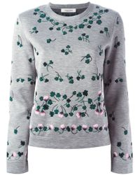 Valentino - Gray Floral-Embroidered Sweatshirt - Lyst