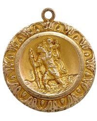 Annina Vogel - Metallic Vintage Gold Bordered St Christopher Charm - Lyst